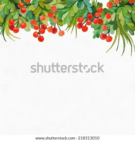Floral background with leaves and berries.Watercolor illustration. Abstract background. - stock photo