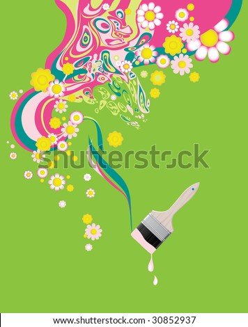 Floral background with paintbrush. Raster version of vector illustration.