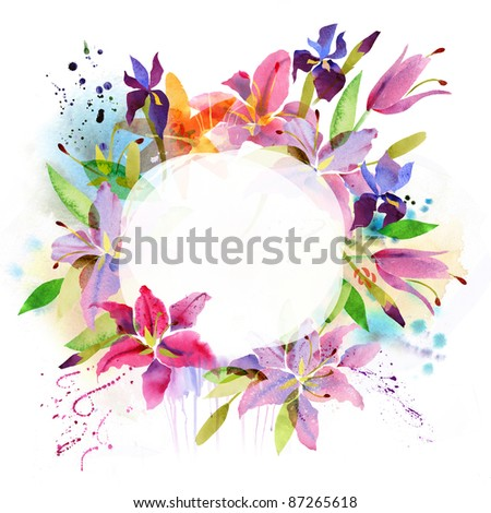 Floral background with watercolor flowers - stock photo