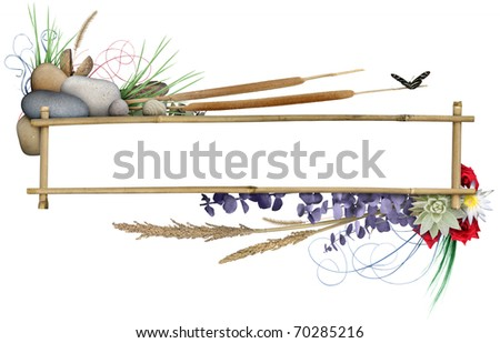 Floral Banner Frame - stock photo