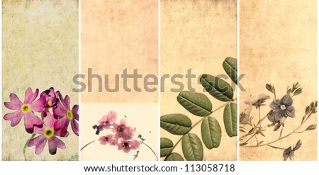 floral banners and design elements