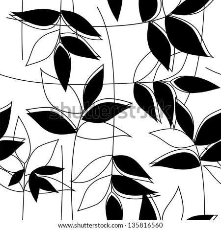 Floral black&white seamless pattern (raster version) - stock photo