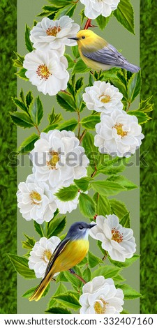 floral border vertical, pattern, white roses, green leaves, yellow bird - stock photo
