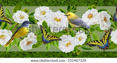 floral border vertical, pattern, white roses, green leaves, yellow, birds, butterflies - stock photo