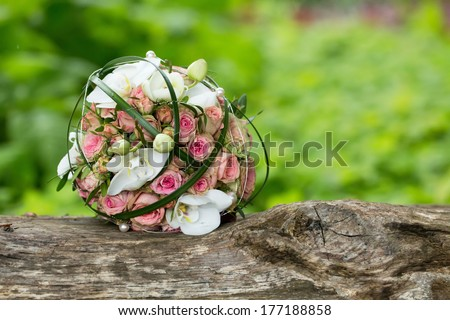 floral bouquet of different flowers - stock photo