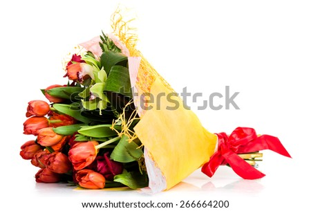 floral bouquet of different flowers on a white background - stock photo