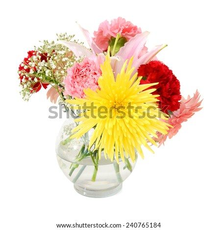 floral bouquet of lovely flowers in glass vase - stock photo