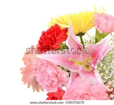 floral bouquet of lovely flowers on a white background - stock photo