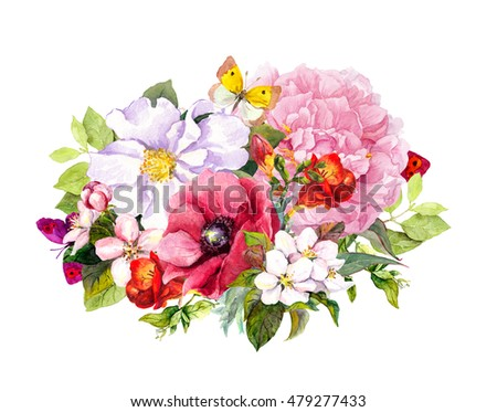 Floral bouquet - summer flowers. Fashion design for label or card. Watercolor