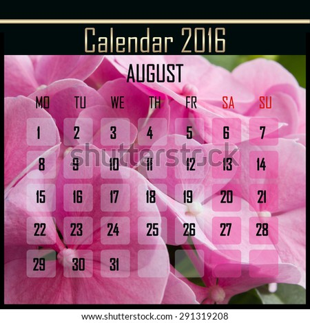 Floral 2016 calendar design for august month - stock photo