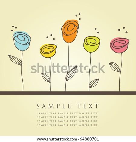 Floral card. Vintage illustration. - stock photo