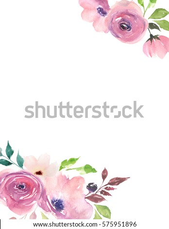 floral card watercolor template for wedding invitations posters valentines day easter
