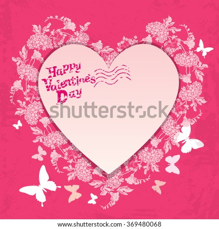 Floral card with heart frame on pink background with  flowers and butterfly, printed grunge text Happy Valentines day, Design for greeting cards, invitations, posters, prints. Raster version - stock photo