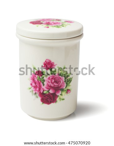 Floral Ceramic Container on White Background