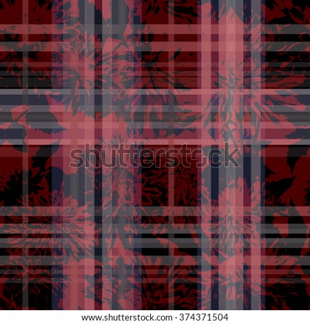 Floral checkered seamless pattern. Gingham dark red floral ornament masculine checks textile. Flowers on a dark background. - stock photo