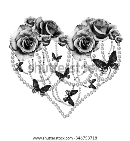 floral chic heart - stock photo