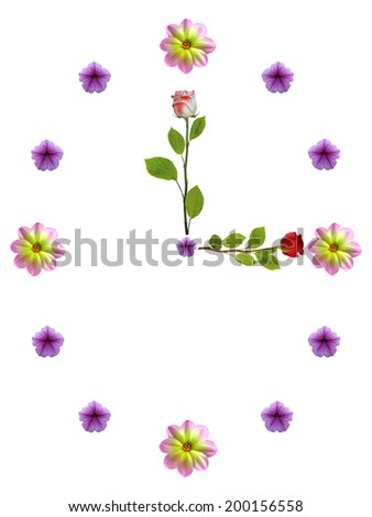 floral clock on white background