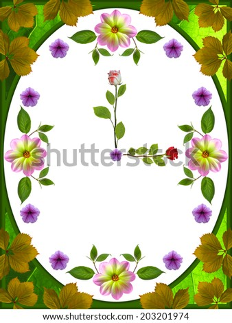floral clock on white background - stock photo