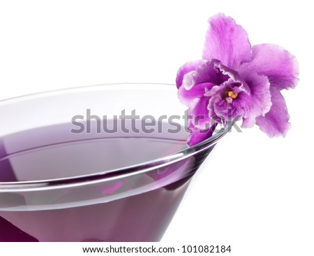 floral cocktail isolated on white background - stock photo