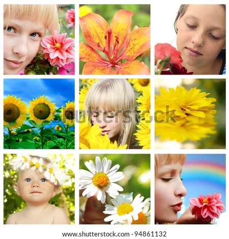 Floral collage with flower and closeup faces - stock photo