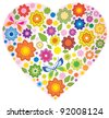 Floral colorful Heart and butterfly over white - stock photo