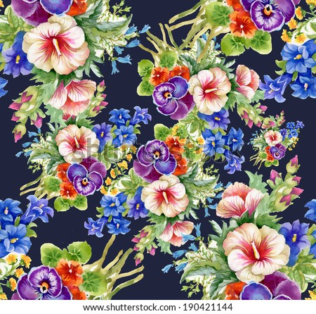 Floral colorful mallow flowers pattern on dark blue background  - stock photo