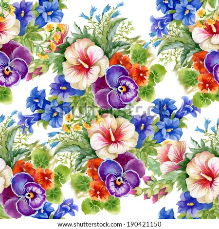 Floral colorful mallow flowers pattern on white background - stock photo
