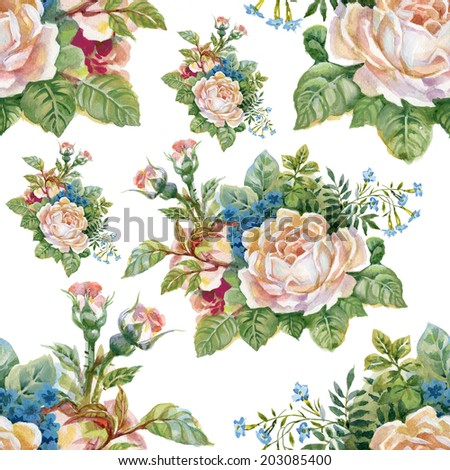 Floral colorful roses flowers pattern on white background - stock photo