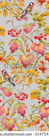 Floral composition of autumn branches with berries , leaves and birds. Seamless background pattern. Version 5 - stock photo