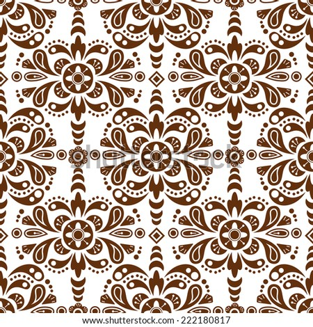 Floral damask seamless pattern background, mexican ornament