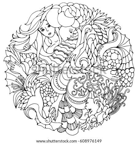 element coloring pages | Floral Decorative Element Surreal Female Faces Stock ...