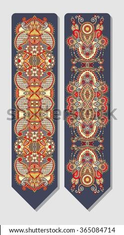 floral decorative ethnic paisley bookmark for printing, raster version illustration - stock photo