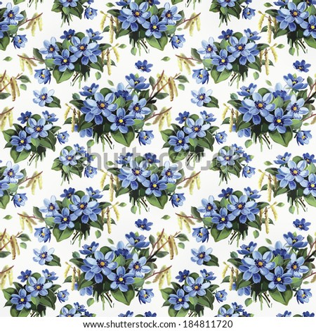 Floral decorative seamless pattern - stock photo