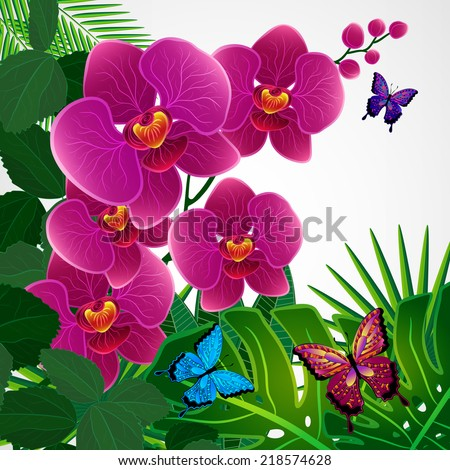 Floral design background. Orchid flowers with butterflies. - stock photo