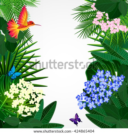 Floral design background. Tropical flowers, birds and butterflies.  - stock photo