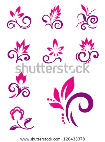 Floral design elements. Icons of abstract flowers. Raster version of vector image 118754980 - stock photo