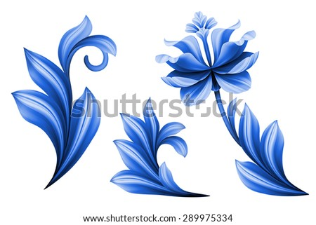 floral design elements isolated on white background, abstract gzhel folk flowers - stock photo
