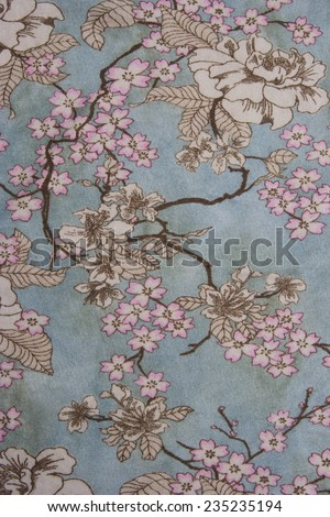 Floral Design on Fabric - Asian Style - stock photo