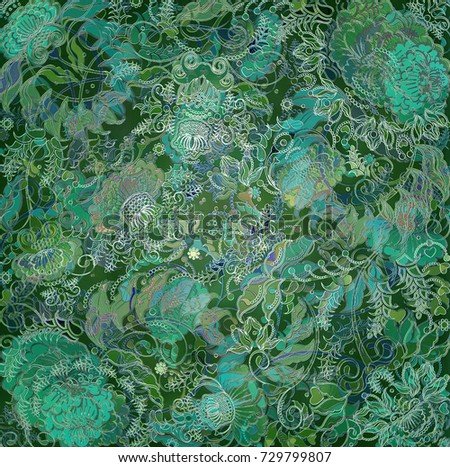 floral design on green backlground