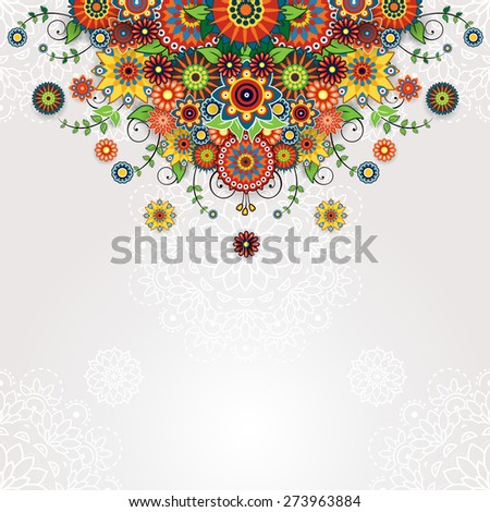 Floral design pattern- Place for text - stock photo