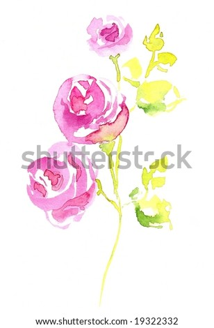 Floral design with hand-painted abstract rose flowers on white background. Art is painted and created by photographer. - stock photo