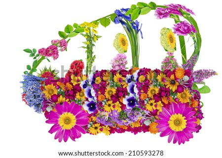 Floral  ecological electric funny  bio car concept - made from flowers collage. Isolated - stock photo