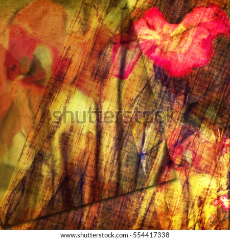 floral elements grunge background, abstract watercolor card design