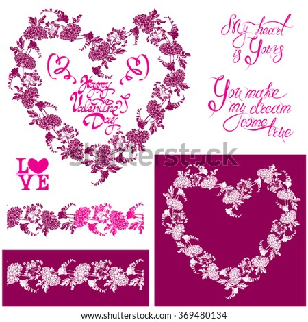 Floral elements: heart frame, seamless border with flowers, calligraphic hand drawn text Happy Valentines day, Design for holidays, greeting cards, invitations, posters, prints. Raster version - stock photo