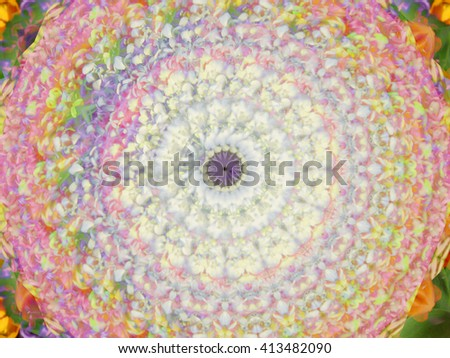 Floral flower twirl spin kaleidoscope green pink blue white purple - stock photo