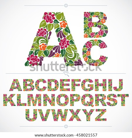 Floral font, hand-drawn capital alphabet letters decorated with botanical pattern. Colorful ornamental typescript, vintage design lettering.
