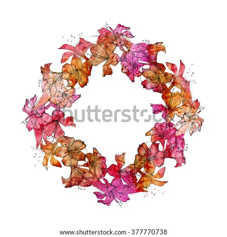 Floral frame. Alstroemeria flowers on watercolor abstract background.