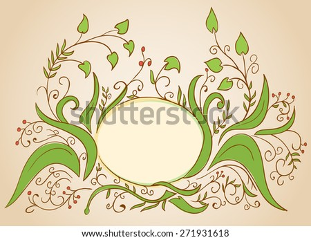 floral frame designed for greeting card hand drawn - stock photo
