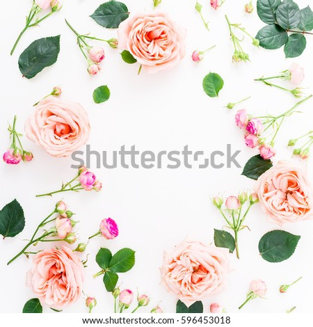 beautiful pink flowers frame made pink roses buds leaves stock photo 653319649 shutterstock