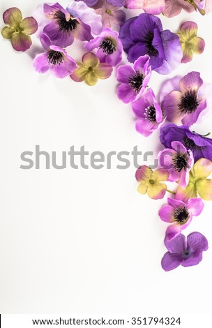 Floral frame with beautiful violets flowers selected on white background - stock photo